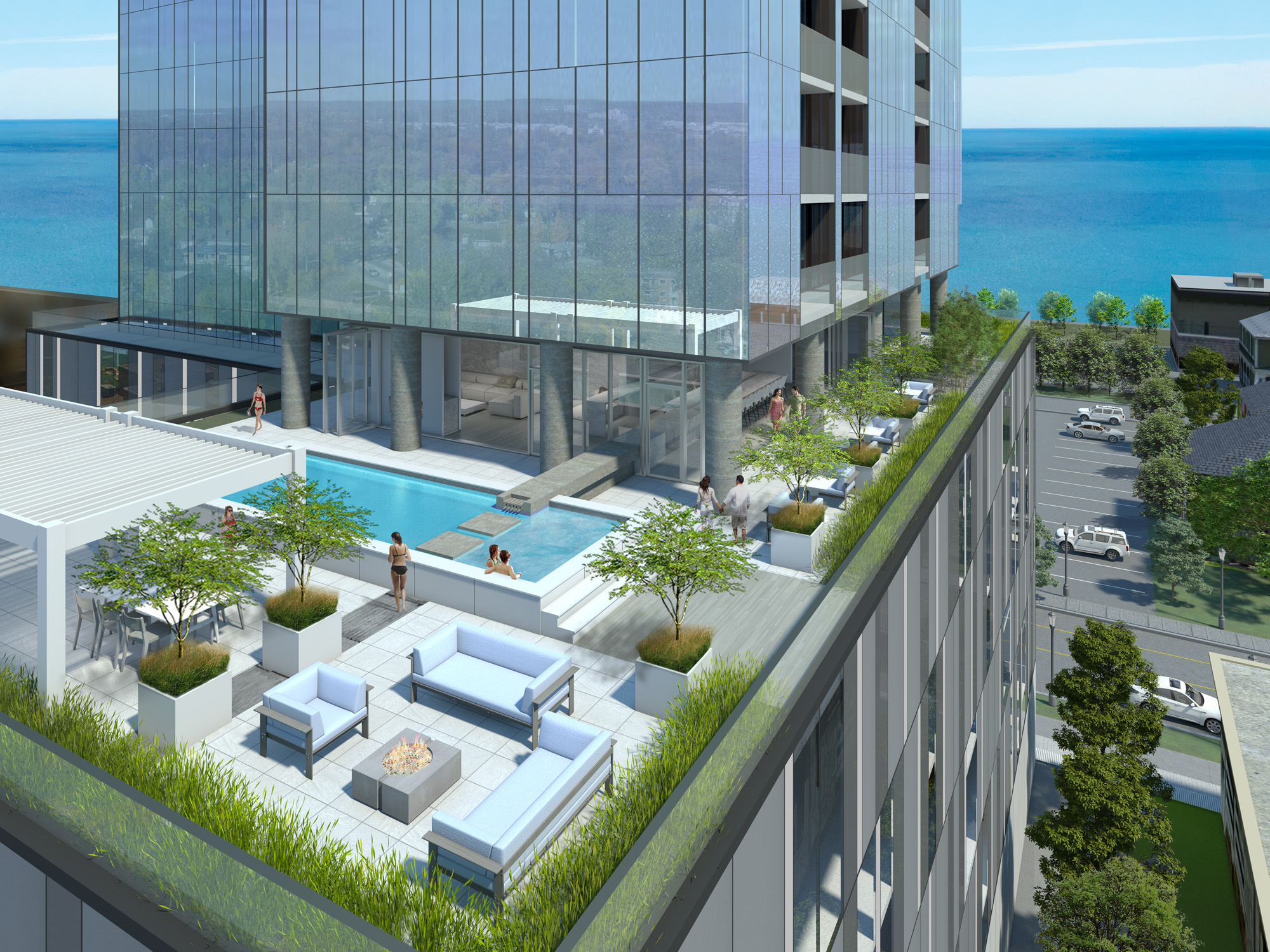 Condo High Rise Pool and Terrace 3D Rendering
