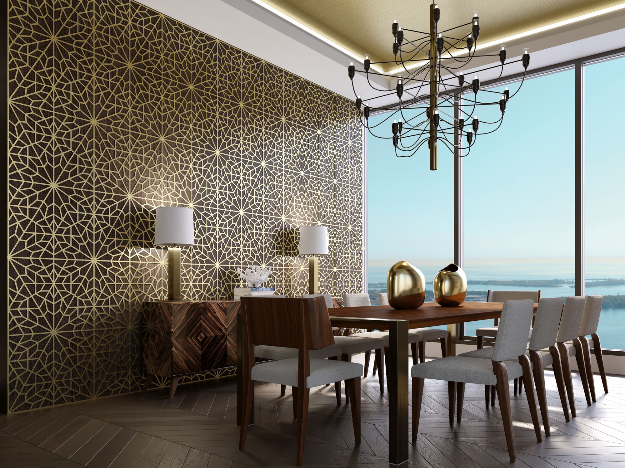 3D interior Rendering of Dining Room Penthouse for Tridel | Aareas Interactive