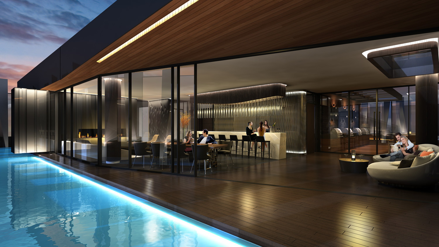 Outdoor Bar + Lounge + Pool Condo High Rise Rendering