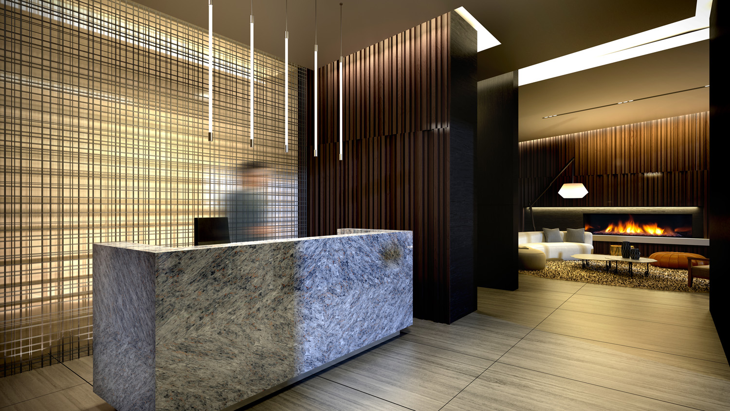 Lobby 3D Rendering for Condo High-Rise