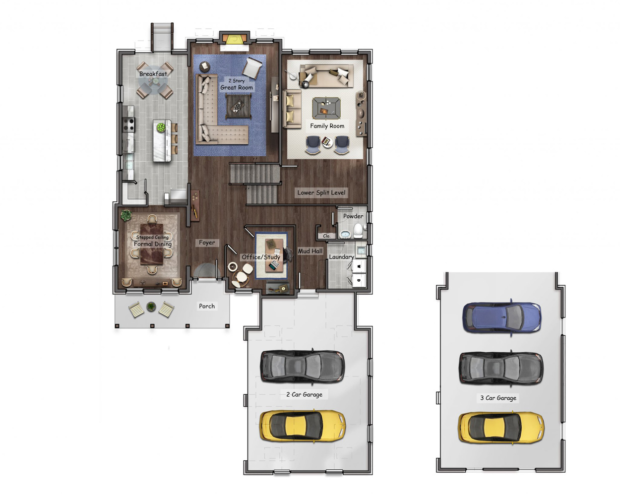 2d Coloured Floor Plan Interior Layout